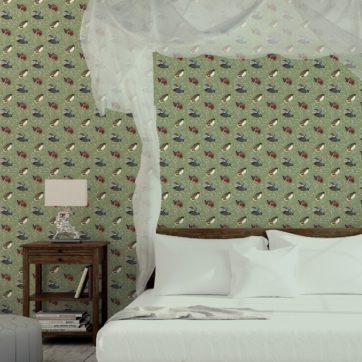 """Klassische Design Tapete """"Im Schlossteich"""" mit Enten im Schilf in grün braun Wandgestaltung Schlafzimmer"""