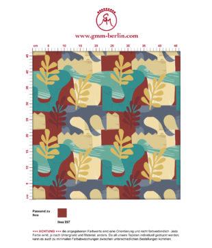 """Exotic Leaf"" Tapete im Retro Stil der 70er in beige angepasst an Little Greene Wandfarben"