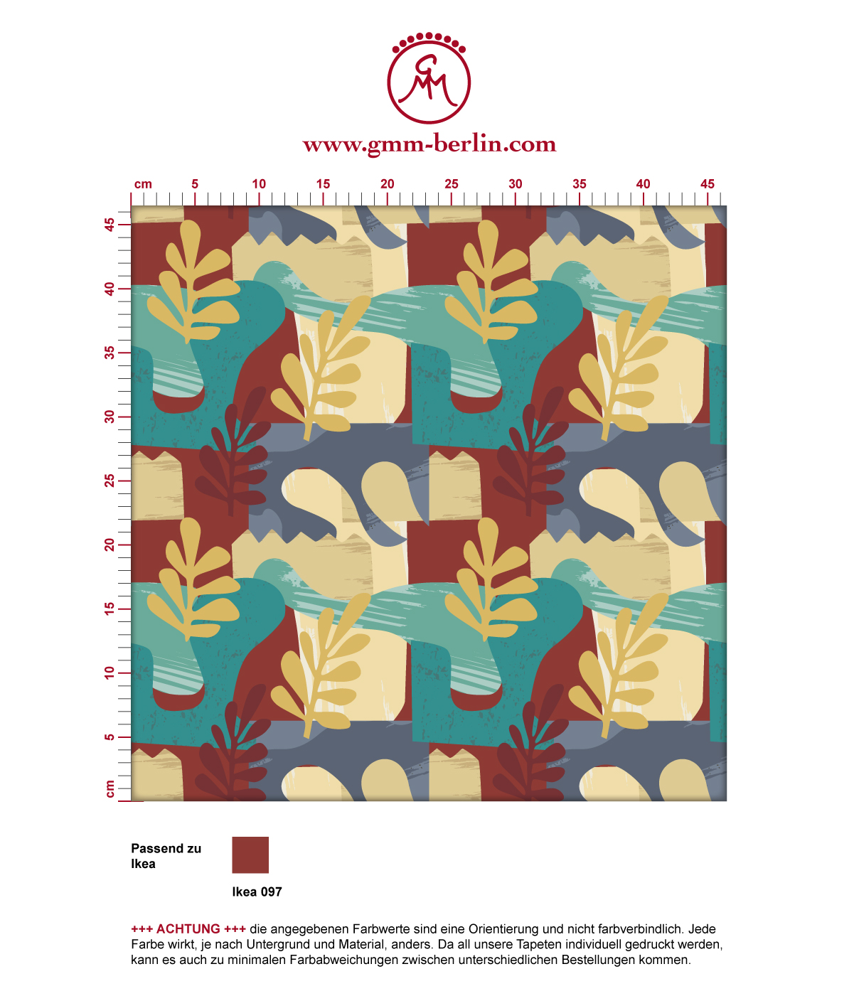 """Exotic Leaf"" Tapete im Retro Stil der 70er in beige angepasst an Little Greene Wandfarben 3"