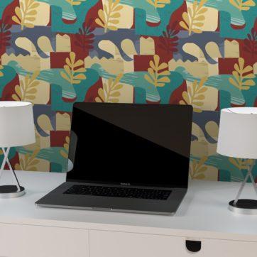 """Exotic Leaf"" Design Tapete im Retro Stil der 70er, beige Wandgestaltung Büro"