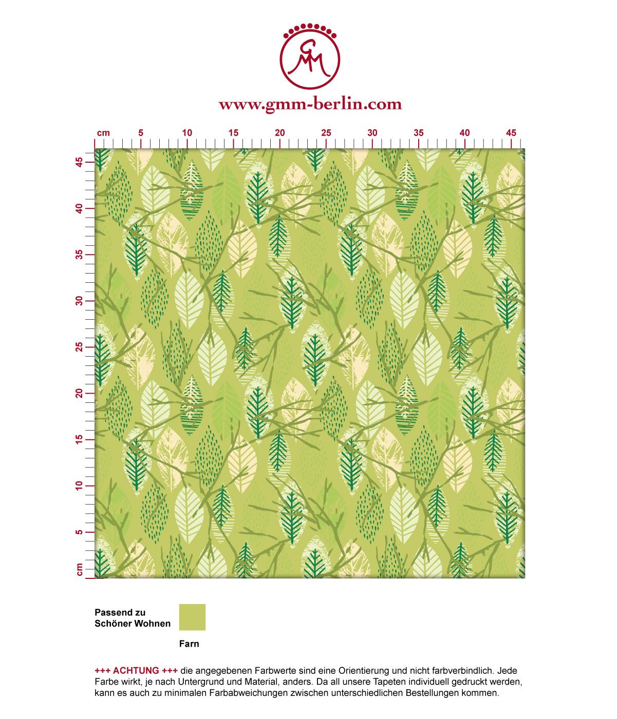 """""""Im Blätterwald"""" - Moderne grafische Vliestapete in grün angepasst an Schöner Wohnen Wandfarben 3"""