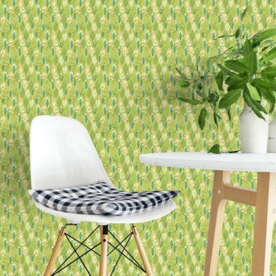 """""""Im Blätterwald"""" - Moderne grafische Tapete in grün angepasst an Schöner Wohnen Wandfarben"""