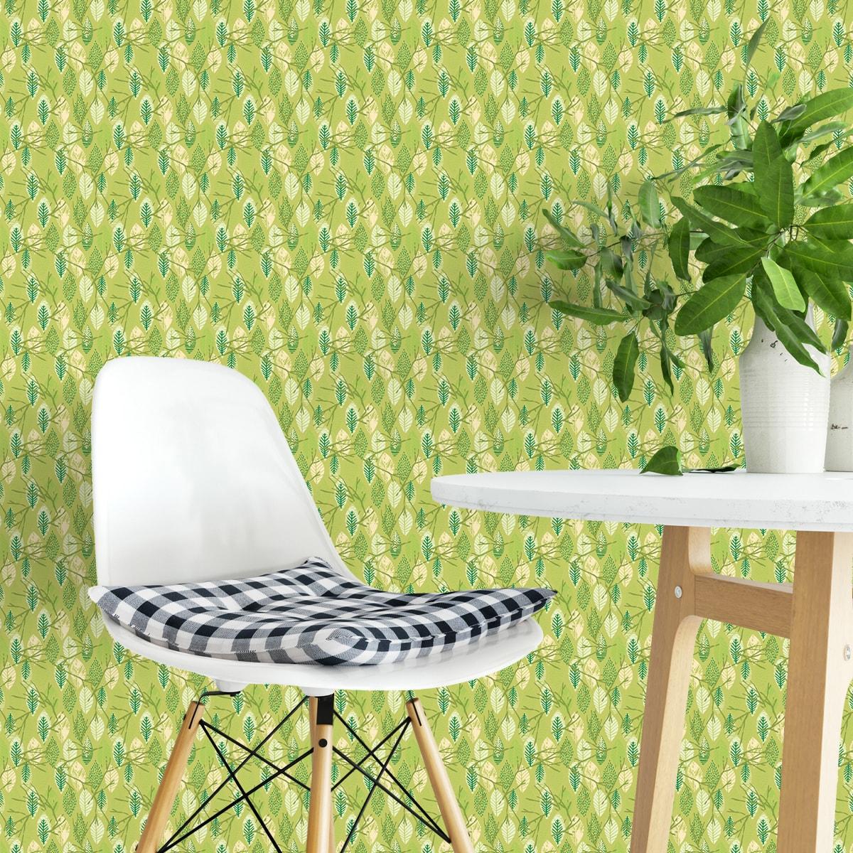 """Küchentapete erbsen grün: """"Im Blätterwald"""" - Moderne grafische Vliestapete in grün Wandgestaltung Küche"""