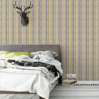 "Wandtapete violett: Streifentapete ""Dotted Lines"" in lila angepasst an Farrow and Ball Wandfarben"