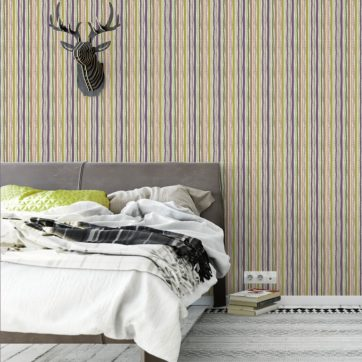 """Streifentapete """"Dotted Lines"""" in lila angepasst an Farrow and Ball Wandfarben"""