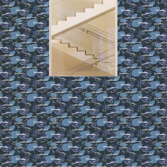 """70er Jahre Tapete """"Angler Glück"""" mit Fischen in lila grau Retro Wandgestaltung"""