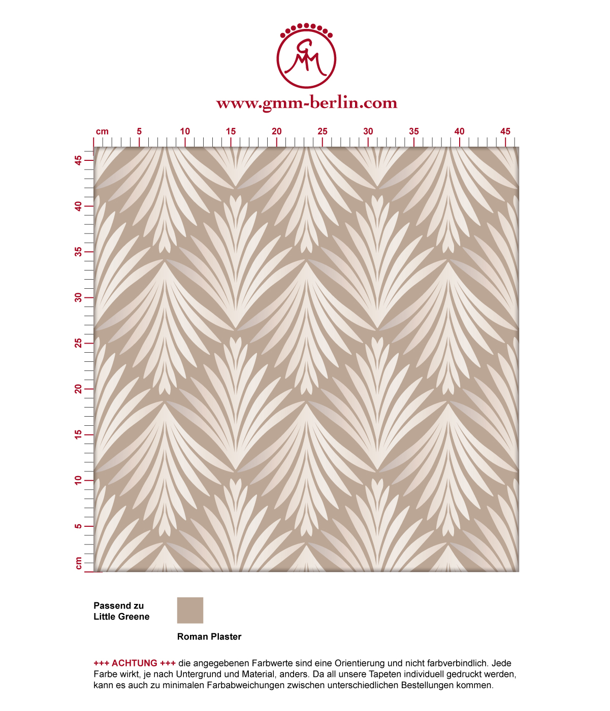"Edle Tapete ""Art Deco Akanthus"" mit Blatt Muster in beige angepasst an Little Greene Wandfarben 3"