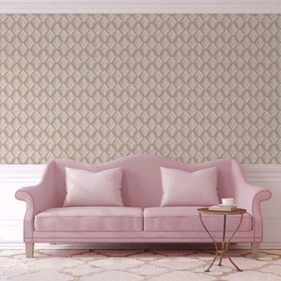 "Edle Ornament Tapete ""Art Deco Akanthus"" mit Blatt Muster in beige angepasst an Little Greene Wandfarben 1"