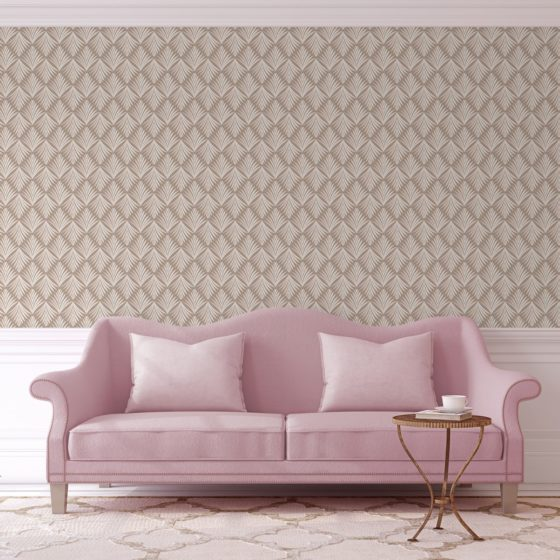 "Edle Tapete ""Art Deco Akanthus"" mit Blatt Muster in beige angepasst an Little Greene Wandfarben"