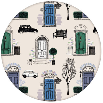 """Fröhliche Design Tapete """"Belgravia"""" mit Londoner Türen, Mini und Cabs in blau Retro Wandgestaltung"""