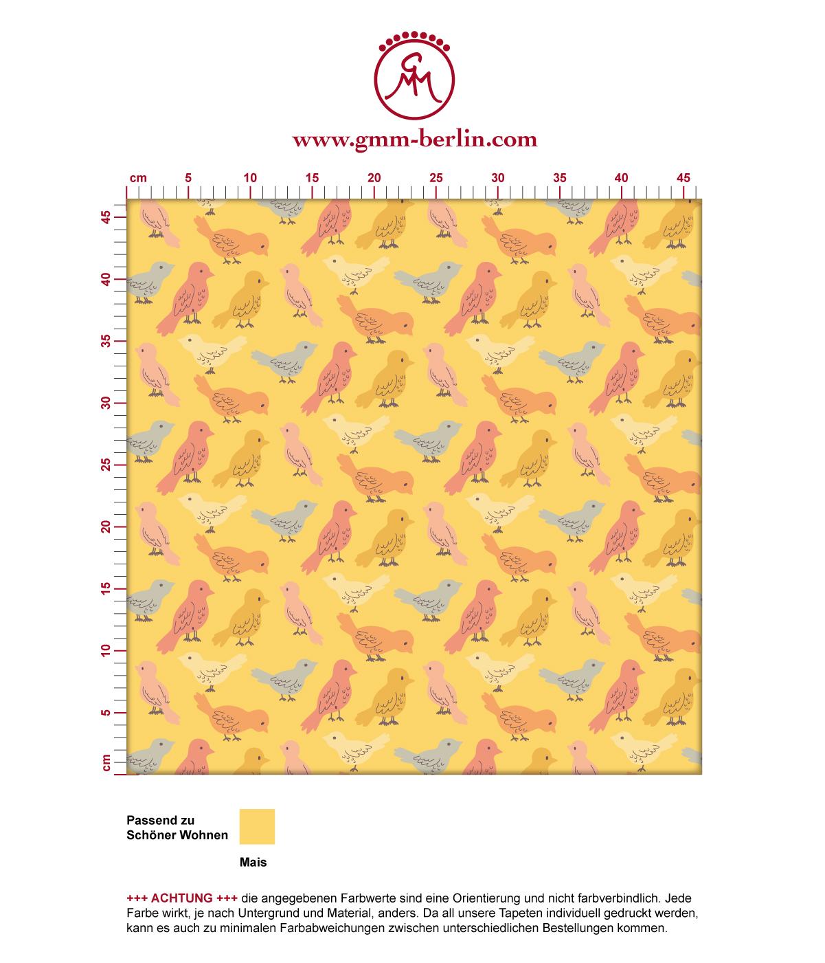 """Sonnig gelbe Design Tapete """"Alle Vöglein"""" mit bunten Vögeln Wandgestaltung"""