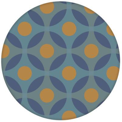 """Moderne Retro Vliestapete """"Flower Dots"""" mit großen Punkten in senf orange"""