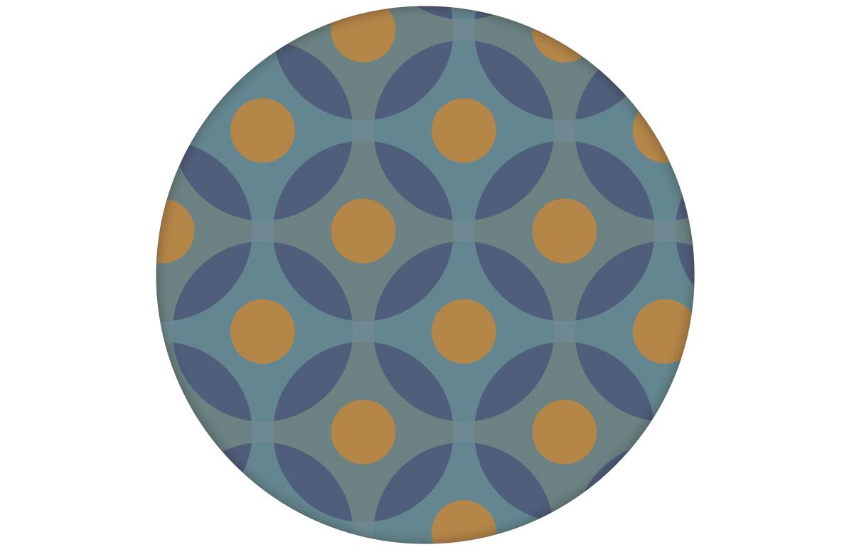 "Moderne Retro Tapete ""Flower Dots"" mit großen Punkten in senf orange angepasst an Farrow and Ball Wandfarben"