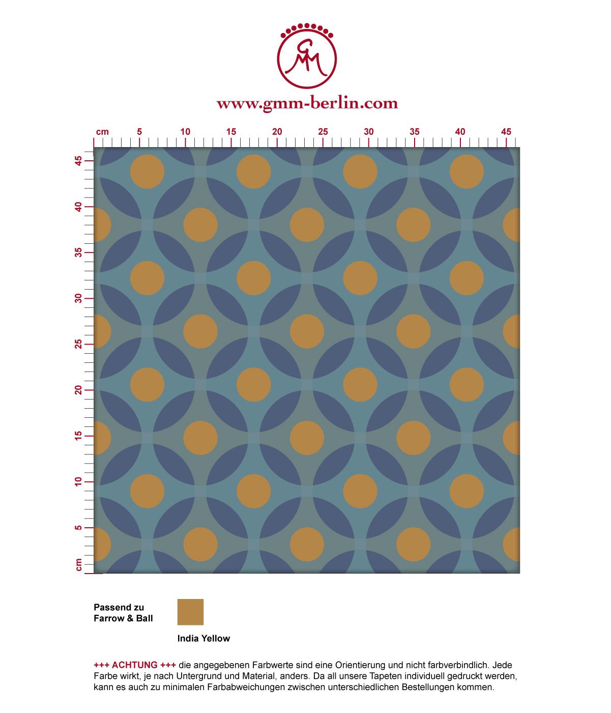 moderne retro tapete flower dots f r k che flur gmm. Black Bedroom Furniture Sets. Home Design Ideas