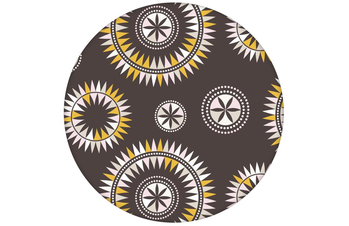 """""""Windrose"""" moderne Tapete mit reduziertem nordischem Design in braun angepasst an Little Greene Wandfarben"""