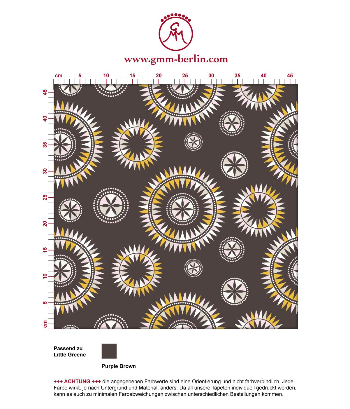 """""""Windrose"""" moderne Tapete mit reduziertem nordischem Design in braun angepasst an Little Greene Wandfarben 3"""
