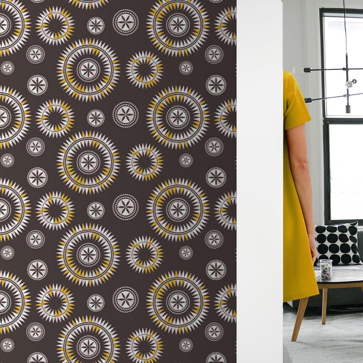 """Wandtapete dunkel braun: """"Windrose"""" moderne Tapete im nordischem Design in braun Wandgestaltung"""
