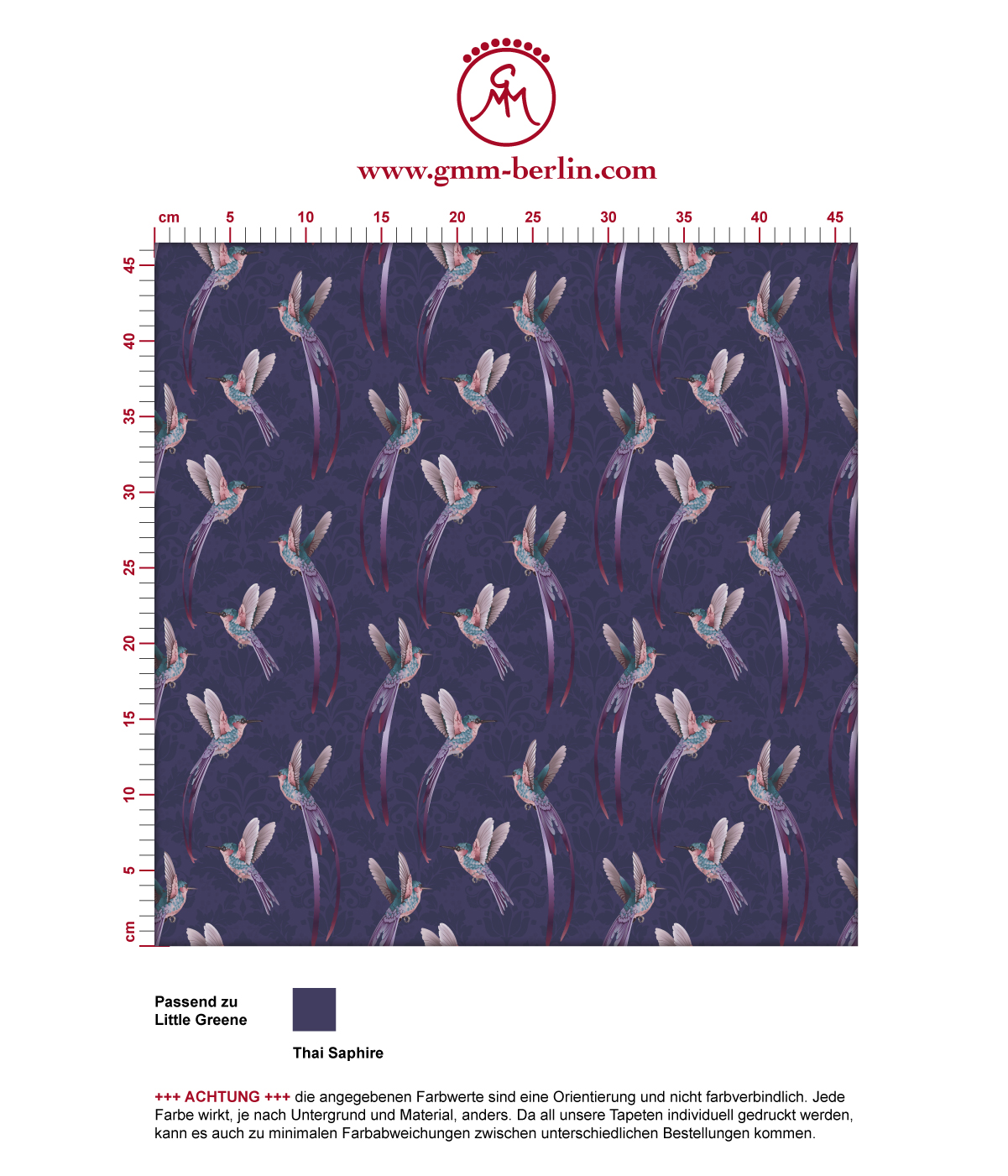 """""""Damast-Elfen"""" Tapete mit fliegenden Kolibris auf Damast Muster in lila angepasst an Little Greene Wandfarben 3"""