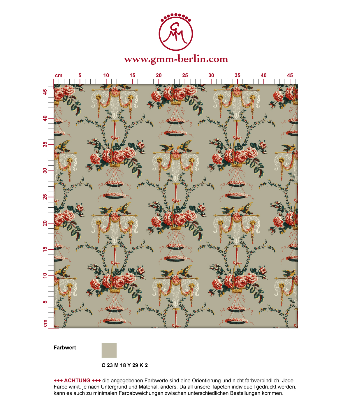 """Üppige Tapete """"Pure Rococo"""" mit klassischen Rosen, Tauben und Blumen Kränzen in beige. Aus dem GMM-BERLIN.com Sortiment: Schöne Tapeten in creme Farbe"""