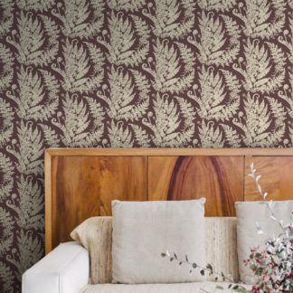 "Wandtapete dunkel braun: Florale Farn Tapete ""Heidis Fernerie"" mit großem Muster in braun rot Wandgestaltung"