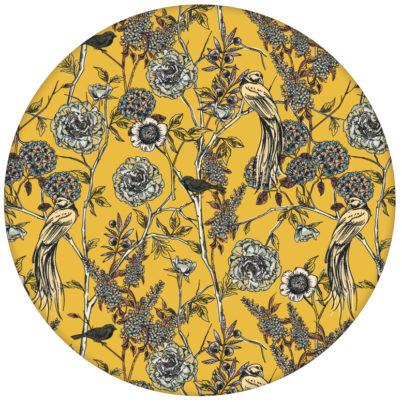 """Gelbe Design Tapete """"Victorias Treasure"""" mit Paradies Vögeln und Blumen im victorianischen Stilaus dem GMM-BERLIN.com Sortiment: gelbe Tapete zur Raumgestaltung: #gelb #Little Greene für individuelles Interiordesign"""