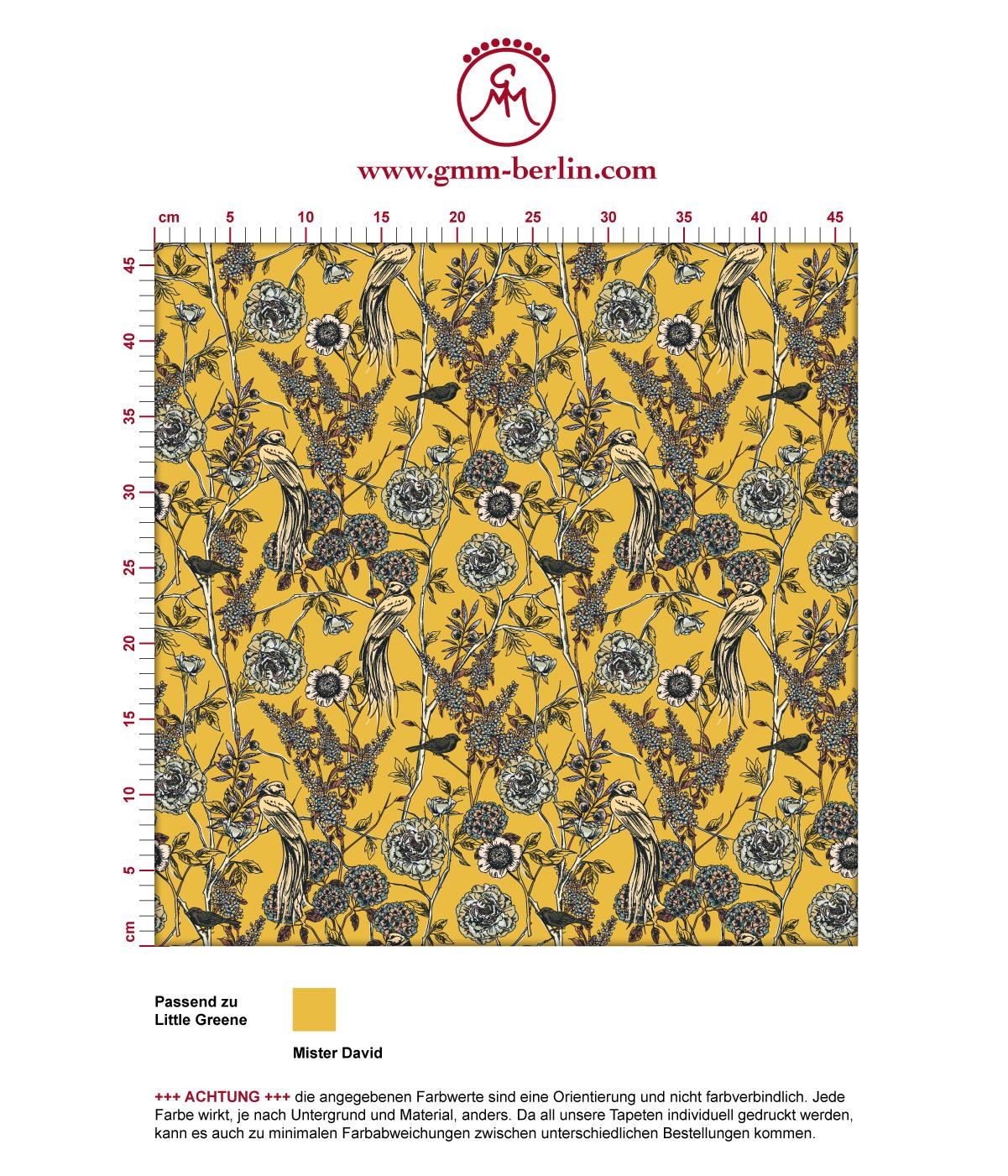 """Gelbe Tapete """"Victorias Treasure"""" mit Paradies Vögeln und Blumen im victorianischen Stil angepasst an Little Greene Wandfarben"""