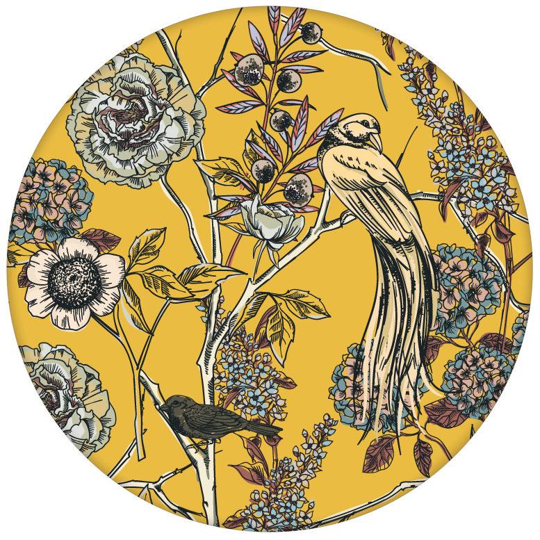 """Schöne Wohnzimmer Tapete """"Victorias Treasure"""" mit Paradies Vögeln und Blumen in gelb - großer Rapport"""