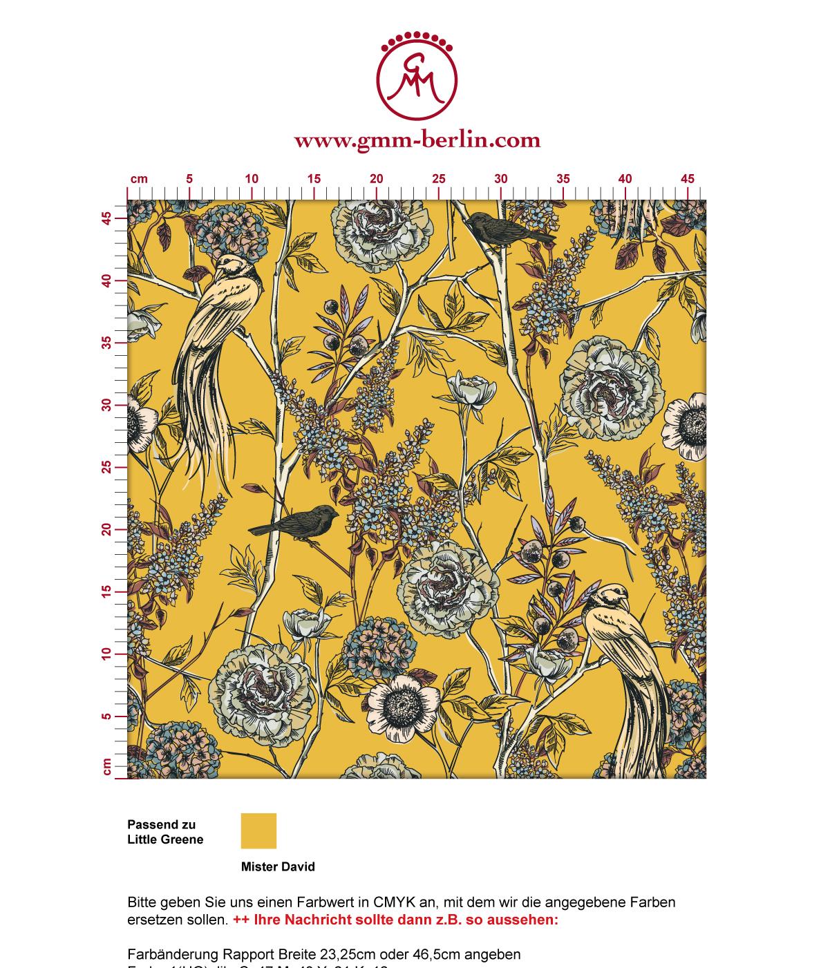 """Schöne Tapete """"Victorias Treasure"""" mit Paradies Vögeln und Blumen in gelb - großer Rapport angepasst an Little Greene Wandfarben 3"""