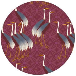 """Rote Tapete """"Kraniche des Ibykus"""" mit edlen Kranichen für moderne Räume aus den Tapeten Neuheiten Exklusive Tapete für schönes Wohnen als Naturaltouch Luxus Vliestapete oder Basic Vliestapete"""