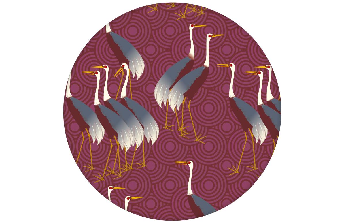 """Rote Tapete """"Kraniche des Ibykus"""" mit edlen Kranichen für moderne Räume"""