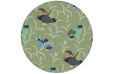 """Elegante Tapete """"Im Schlossteich"""" mit Enten im Schilf in grün blau angepasst an Little Greene Wandfarben"""