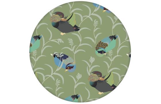 """Elegante Vlies Tapete """"Im Schlossteich"""" mit Enten im Schilf in grün blau für Wohnzimmer"""