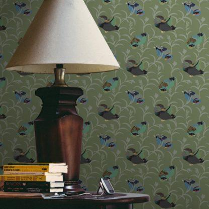 """Wandtapete grün: Elegante Tapete """"Im Schlossteich"""" mit Enten im Schilf in grün blau angepasst an Little Greene Wandfarben"""