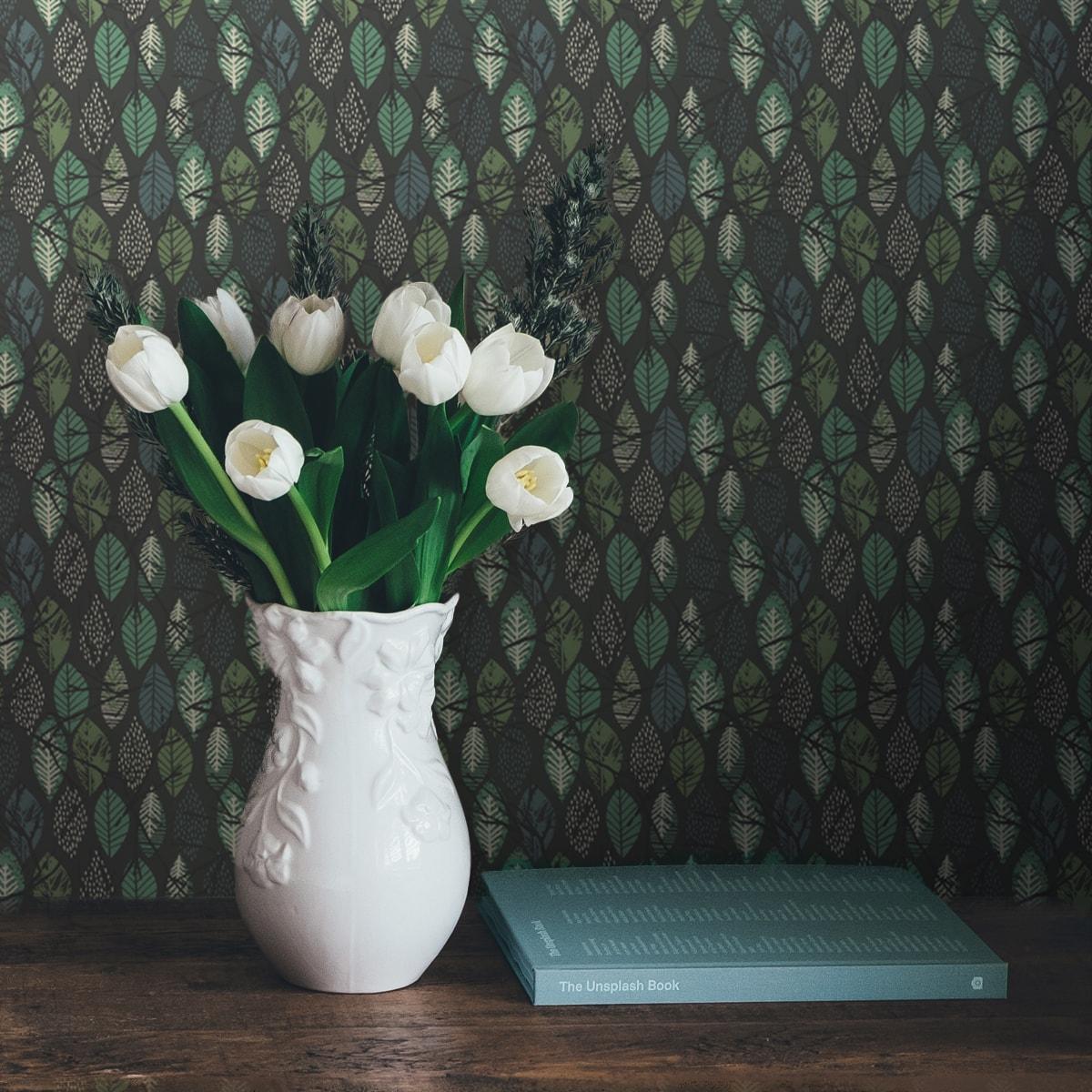 "Schöne florale Tapete ""Im Blätterwald""  in grau angepasst an Farrow and Ball Wandfarben 2"