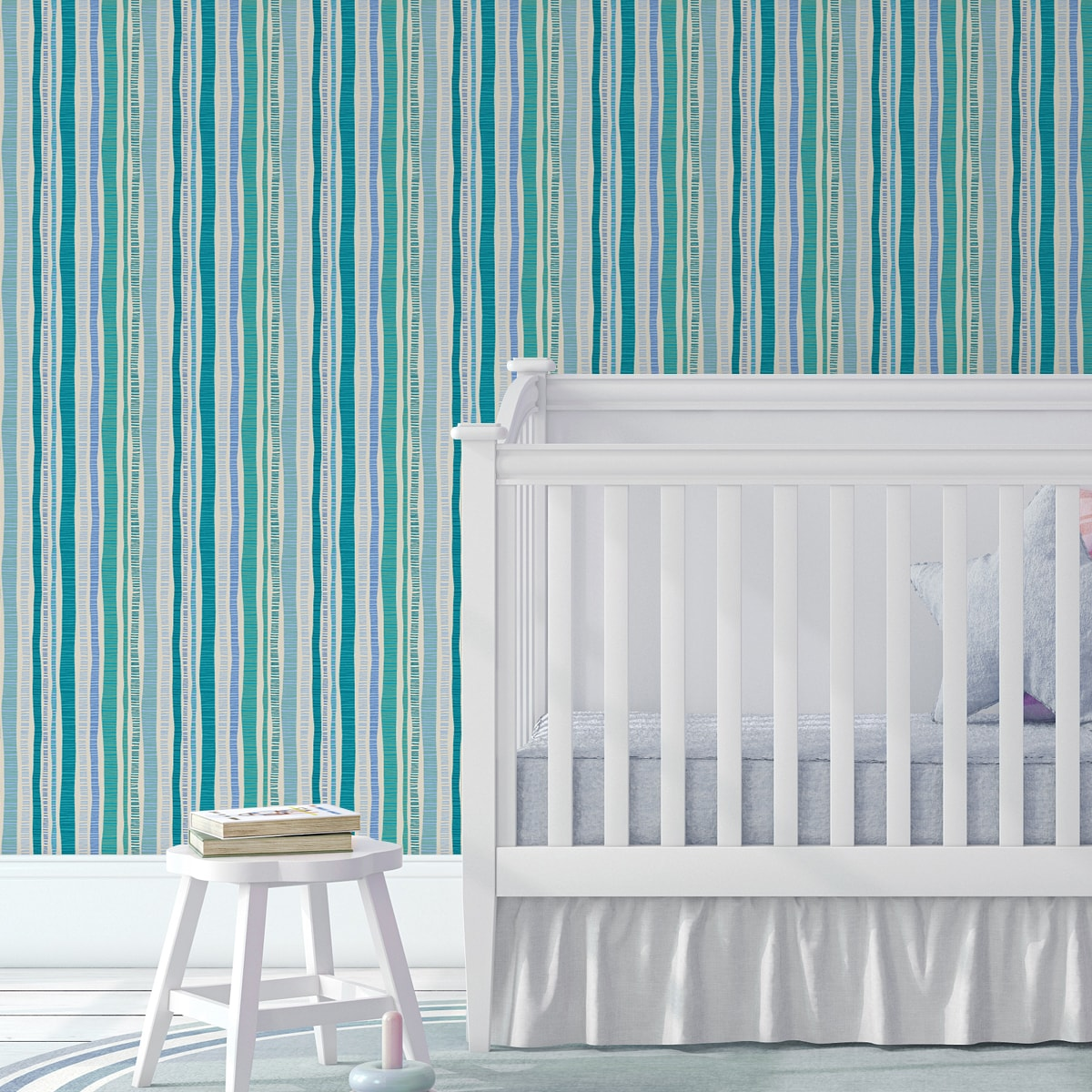 "Kindertapete hellblau: Lustige Streifentapete ""Dotted Lines"" in türkis für Kinderzimmer"