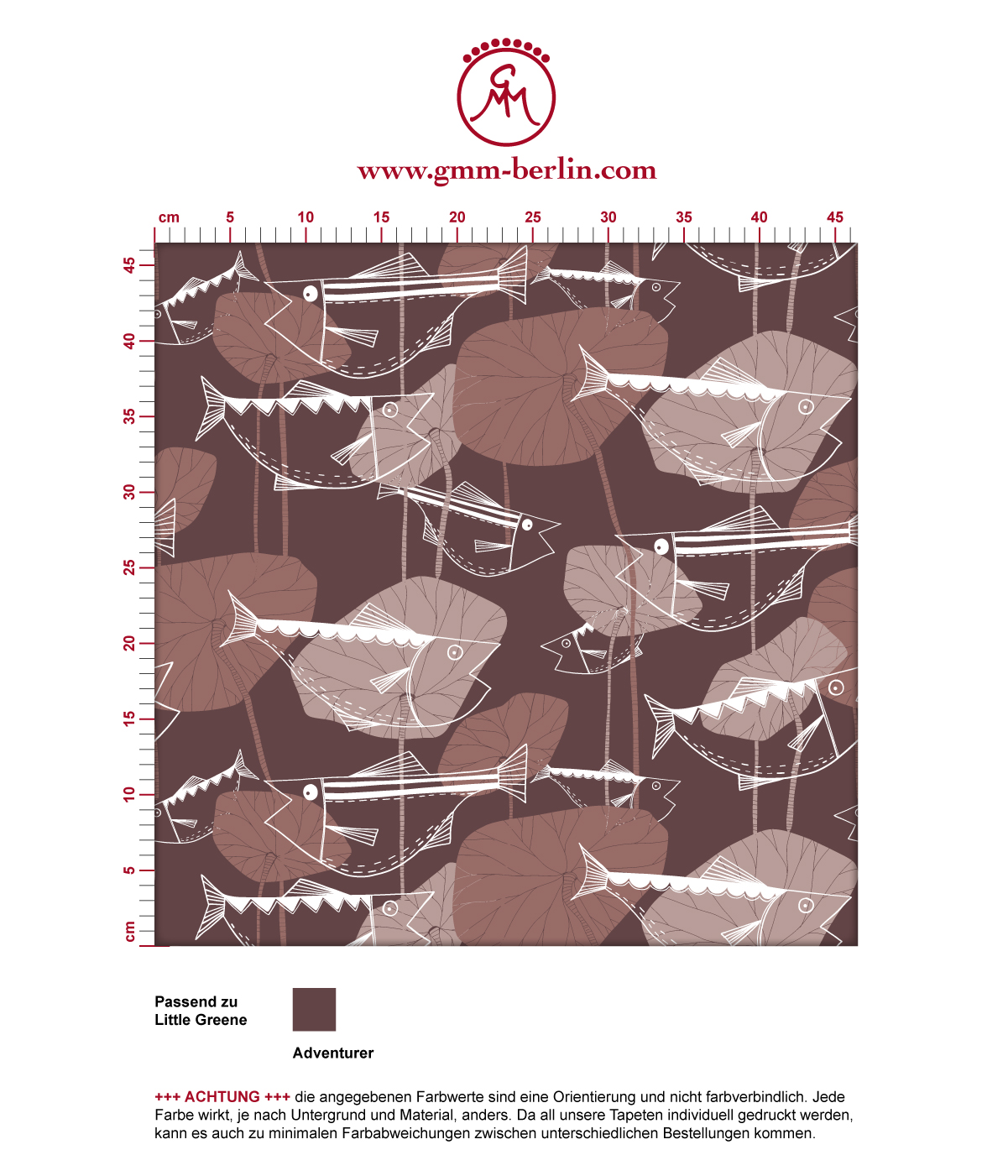 "Edle Fisch Tapete ""Angler Glück"" im Retro Stil in rot braun angepasst an Little Greene Wandfarben"