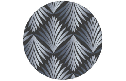 """Art Deco Akanthus"" Tapete mit Blatt Muster in grau angepasst an Little Greene Wandfarben"