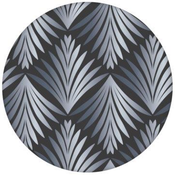 """Art Deco Akanthus"" Ornament Tapete mit Blatt Muster in grau"