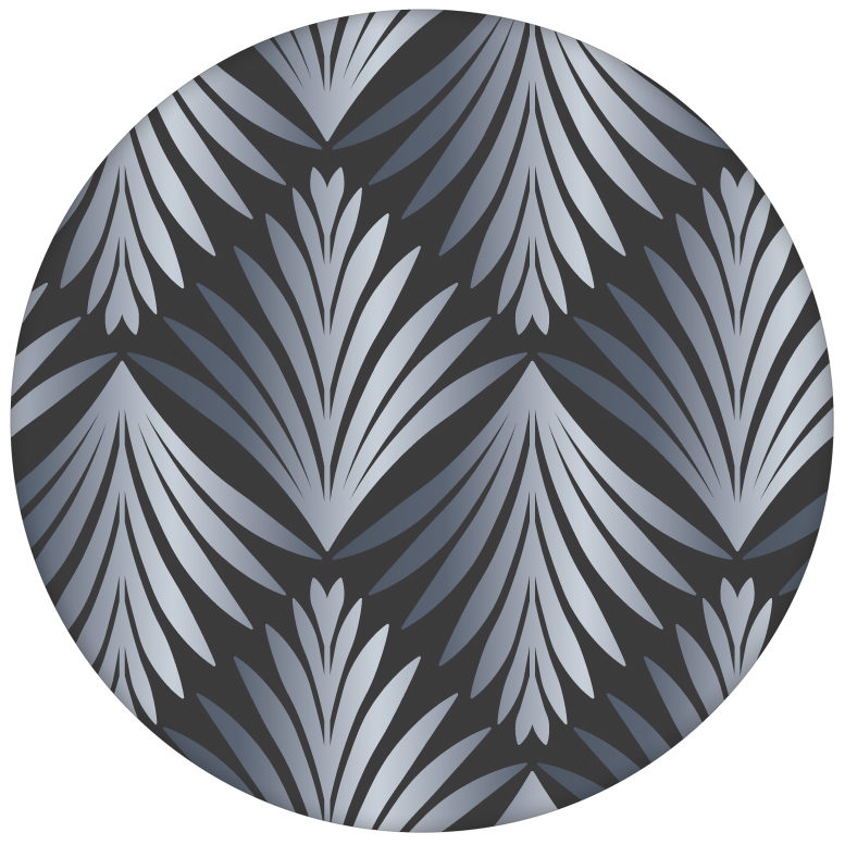 """Art Deco Akanthus"" Ornament Tapete mit Blatt Muster in grau"