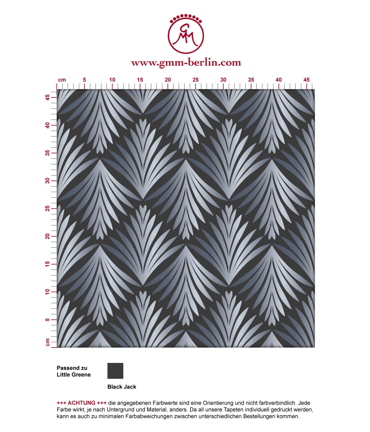 """Art Deco Akanthus"" Tapete mit Blatt Muster in grau angepasst an Little Greene Wandfarben 3"