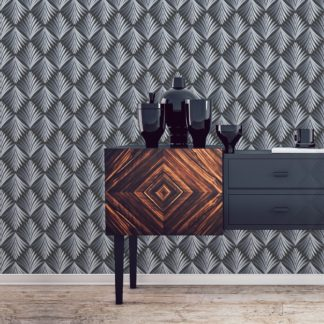 """Art Deco Akanthus"" Ornament Tapete mit Blatt Muster in grau angepasst an Little Greene Wandfarben 2"