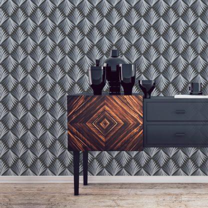 "Wandtapete grau: ""Art Deco Akanthus"" Ornament Tapete mit Blatt Muster in grau angepasst an Little Greene Wandfarben 2"