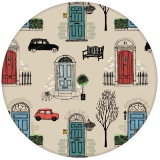 """Haustüren Tapete """"Belgravia"""" mit Londoner Türen, Mini und Cabs, Design Wandgestaltung rot aus den Tapeten Neuheiten Borten und Tapetenmotive als Naturaltouch Luxus Vliestapete oder Basic Vliestapete"""