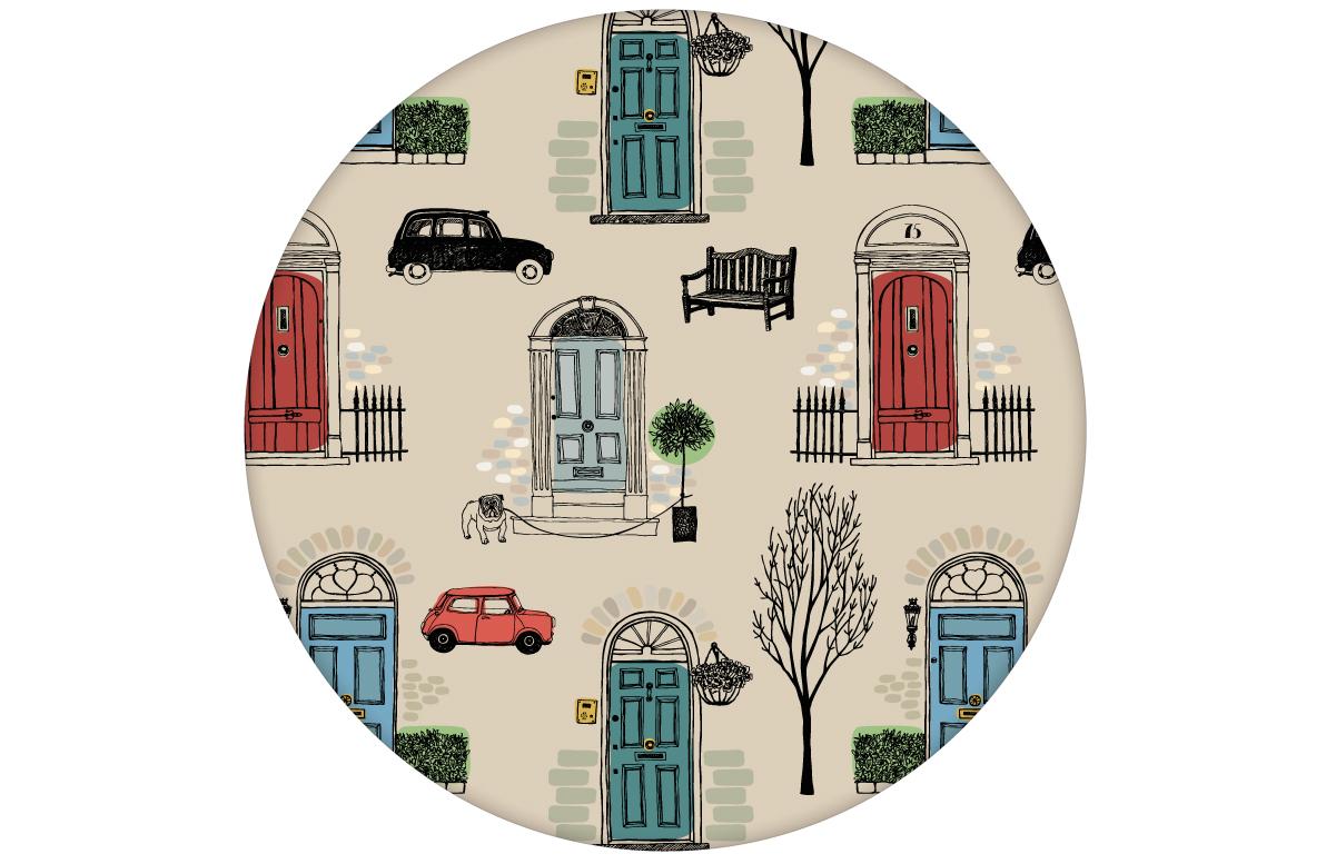 "Haustüren Tapete ""Belgravia"" mit Londoner Türen, Mini und Cabs, Design Wandgestaltung rot"
