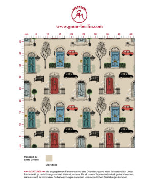 "Haustüren Tapete ""Belgravia"" mit Londoner Türen, Mini und Cabs in rot angepasst an Little Greene Wandfarben"