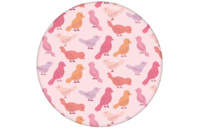 """Rosa Tapete """"Alle Vöglein"""" mit einem Schwarm bunter Vögel angepasst an Little Greene Wandfarben"""