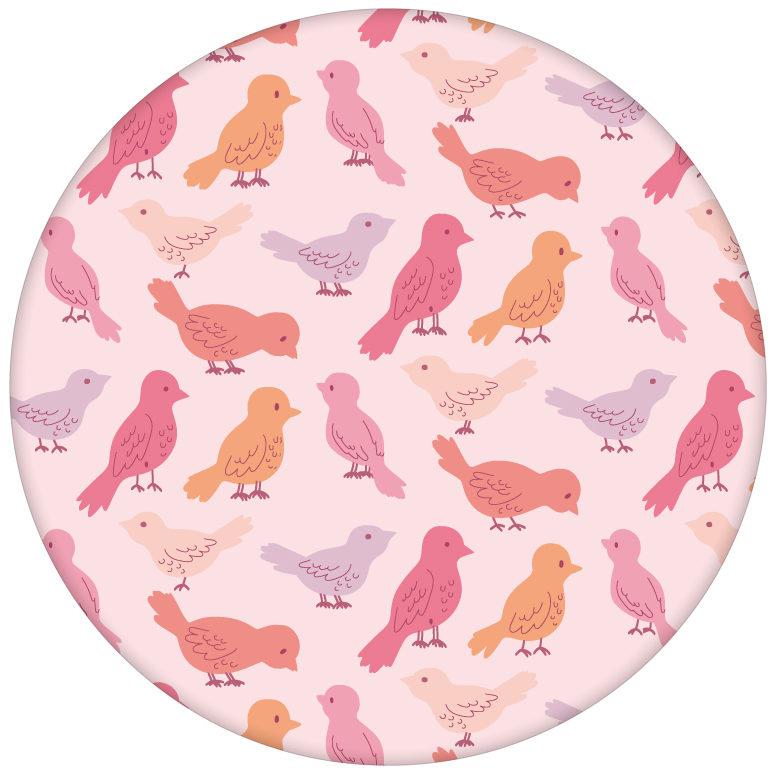 """Rosa Design Tapete """"Alle Vöglein"""" mit einem Schwarm bunter Vögel Wandgestaltung Kücheaus dem GMM-BERLIN.com Sortiment: rosa Tapete zur Raumgestaltung: #kinder #Little Greene #rosa #tapete #tiere #voegel für individuelles Interiordesign"""