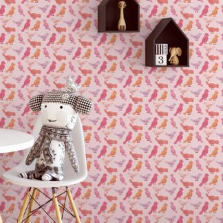 """Rosa Design Tapete """"Alle Vöglein"""" mit bunten Vögeln für Kinderzimmer Küche Gang"""