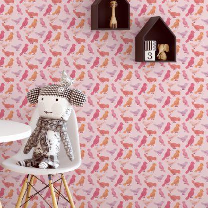 """Küchentapete pink: Rosa Design Tapete """"Alle Vöglein"""" mit bunten Vögeln für Kinderzimmer Küche Gang"""