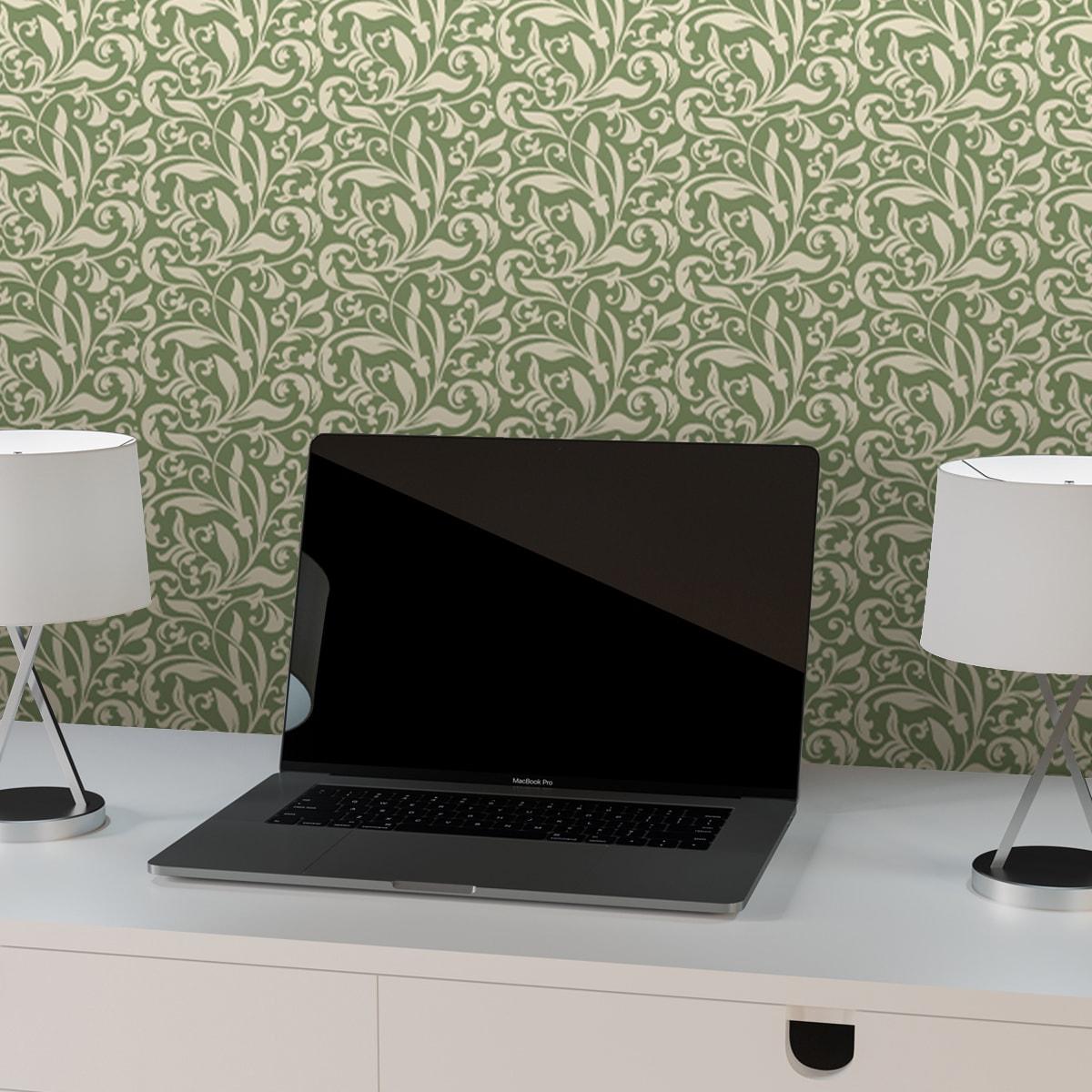 """Küchentapete grün: """"Victorian Delight"""" - edle florale Tapete mit victorianischem Blatt Muster grün Wandgestaltung Büro Küche Flur"""
